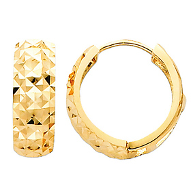 Thick Faceted 14K Yellow Gold Huggie Earrings 5mm x 15mm