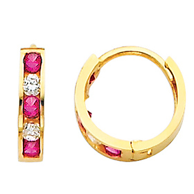 14K Yellow Gold 5-Stone Red & White CZ Huggie Earrings 2mm x 10mm