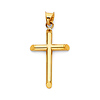 Small Tube Cross Pendant in 14K Yellow Gold - Classic