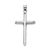 Medium Cross Pendant with Slanted Edges in 14K White Gold