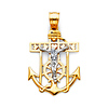 Small Heart Mariner's Cross Anchored Crucifix Pendant in 14K Two-Tone Gold