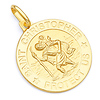 Saint Christopher Round Medal Pendant in 14K Yellow Gold 20mm