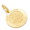 Petite Saint Michael Round Medal Pendant in 14K Yellow Gold