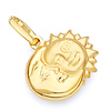 Sun & Moon Face Charm Pendant in 14K Yellow Gold - Mini