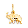 Trumpeting Elephant Charm Pendant in 14K Yellow Gold - Mini