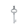 Vintage-Style Oval Key Pendant in 14K White Gold - Small
