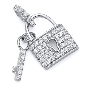 Micropave CZ-Filled Lock & Key Pendant in 14K White Gold - Petite
