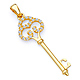 Antique-Style Filigree Cubic Zirconia Key Pendant in 14K Yellow Gold - Small thumb 0
