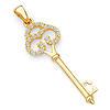 Antique-Style Filigree Cubic Zirconia Key Pendant in 14K Yellow Gold - Small