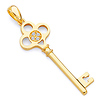 Clover Key Pendant with CZ Accents in 14K Yellow Gold - Small