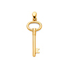 Vintage-Style Oval Key Pendant in 14K Yellow Gold - Small