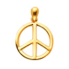 Classic Peace Sign Charm Pendant in 14K Yellow Gold - Petite