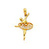 CZ Spinning En Pointe Ballerina Pendant in 14K Yellow Gold - Small