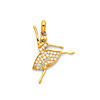CZ Arabesque En Pointe Ballerina Pendant in 14K Yellow Gold - Small