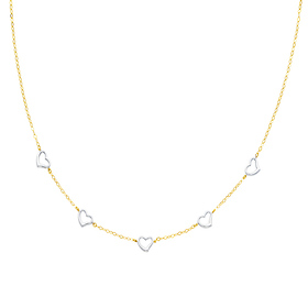 14K Yellow and White Gold Heart Light Fashion Link Necklace