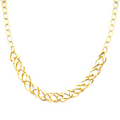 14K Yellow Gold Wide Diamond-Shape Link Necklace - Women