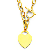 14K Yellow Gold Heart Charm Link Necklace - 18in