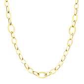 13mm 14K Yellow Gold Long Diamond-Cut Oval Link Necklace - Women 36in