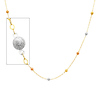 6mm Designer Ball 14K Tri-Color Gold Link Necklace for Women