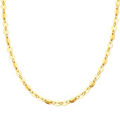 Designer Diamond Cut Flat Oval 14K Yellow Gold Link Necklace