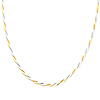 4mm Oval Link Designer 14K Two Tone Gold Necklace & Lobster Clasp