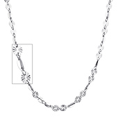 4mm Women's Designer Diamond-Cut Round 14K White Gold Link Necklace