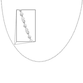 14K White Gold Fancy Designer Necklace with Spring-ring Clasp