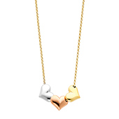 14K Tri-Color Gold Heart Hanging 1.5mm Rolo Cable Chain Necklace