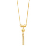 Heart & Round Charm Box Chain Yellow Gold Tassel Necklace