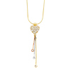 CZ Heart Charm Tri Gold Hanging Tassel Necklace