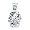 Cobra Snake Pendant with CZ Accents in Sterling Silver (Rhodium) - Medium