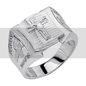 Crucifix & Cross Embossed CZ Sterling Silver Men's Catholic Ring