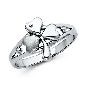 Shamrock CZ Women's Sterling Silver Ring