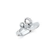 .925 Sterling Silver CZ Heart Loop Womens Ring