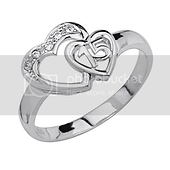 Two Hearts CZ Sterling Silver Quinceanera Ring