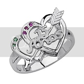 Green & Pink CZ Two Hearts & Arrow Silver Quinceanera Ring