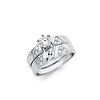 Fancy Sterling Silver CZ Wedding Ring Set