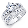 Christian Cross 1-CT Round-Cut CZ Wedding Ring Set in Sterling Silver (Rhodium)