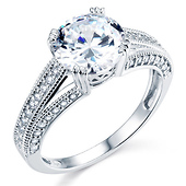 Vintage-Style Pave Cathedral 1CT Round CZ Engagement Ring in Sterling Silver (Rhodium)
