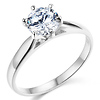 6-Prong Cathedral Round CZ Engagement Ring Solitaire in Sterling Silver (Rhodium)