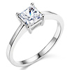 1ct Basket Princess-Cut Solitaire CZ Engagement Ring in Sterling Silver (Rhodium)