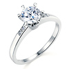 6-Prong 1-CT Round-Cut CZ Engagement Ring & Side Pave in Sterling Silver (Rhodium)
