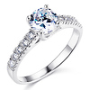 Sterling Silver Trellis Solitaire Round Cut CZ Engagement Ring