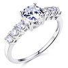 Basket-Set 1-CT Round-Cut CZ Engagement Ring in Sterling Silver (Rhodium)
