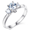 Knife-Edge Trellis 3-Stone Round CZ Engagement Ring in Sterling Silver (Rhodium)