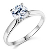 Sterling Silver Cathedral Set Round Solitaire CZ Engagement Ring