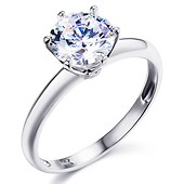Knife-Edge 1-CT Round-Cut CZ Engagement Ring Solitaire in Sterling Silver (Rhodium)