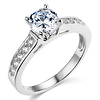 Cathedral Round-Cut CZ Engagement Ring in Sterling Silver (Rhodium) with Pave Side Stones