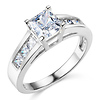Basket-Set 1-CT Princess-Cut CZ Engagement Ring in Sterling Silver (Rhodium)