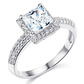 Halo Knife-Edge 1-CT Princess-Cut CZ Engagement Ring in Sterling Silver (Rhodium)